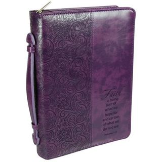 Faith Leather Large Purple Bible Cover