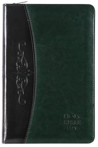 NIV Thinline Bible, Flexitone Dark Green/Black Zipped