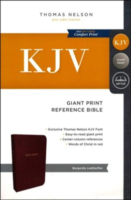 KJV, Reference Bible, Giant Print, Leather-Look, Burgundy, Red Letter Edition